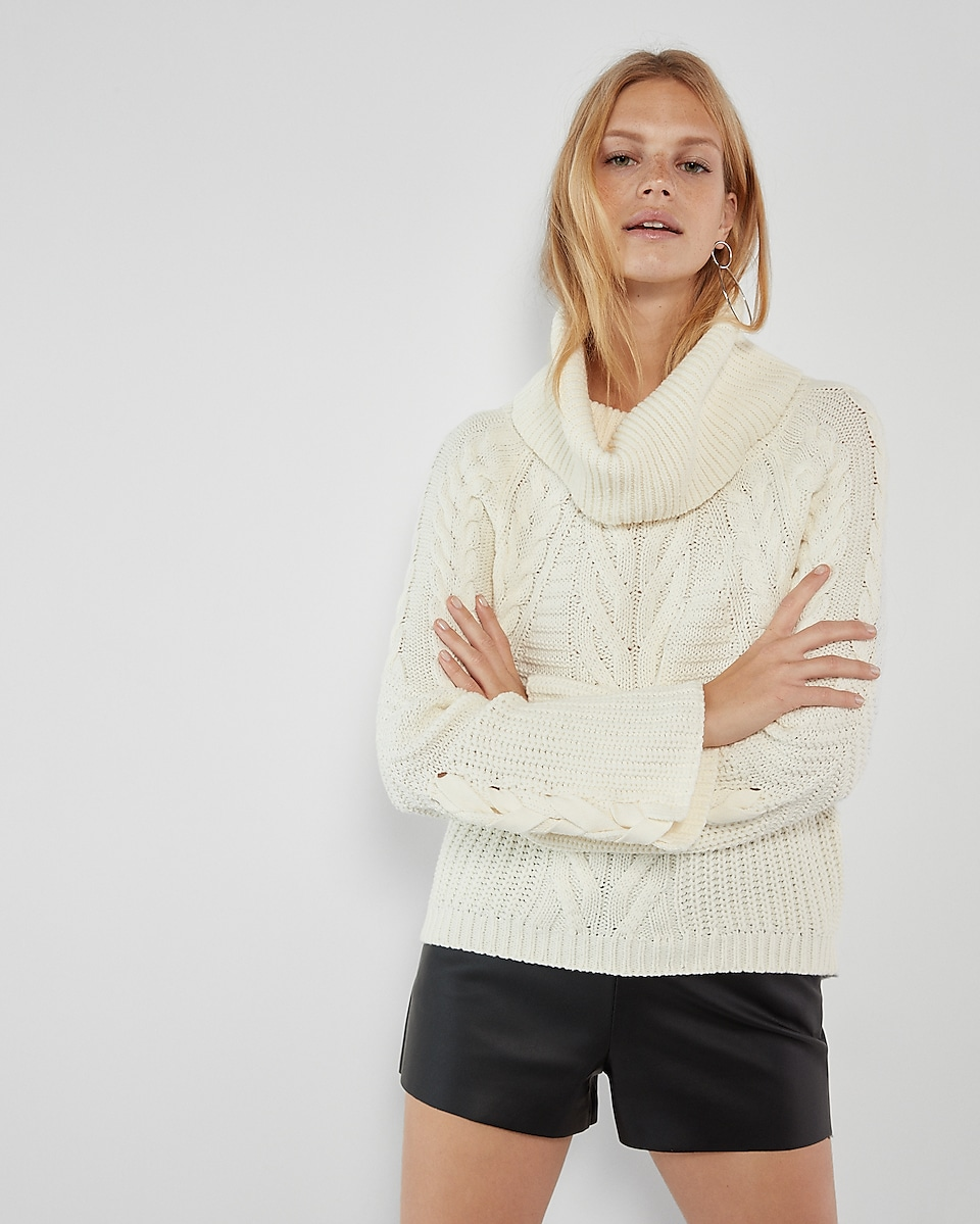 Cowl Neck Cable Knit Sweater | Express