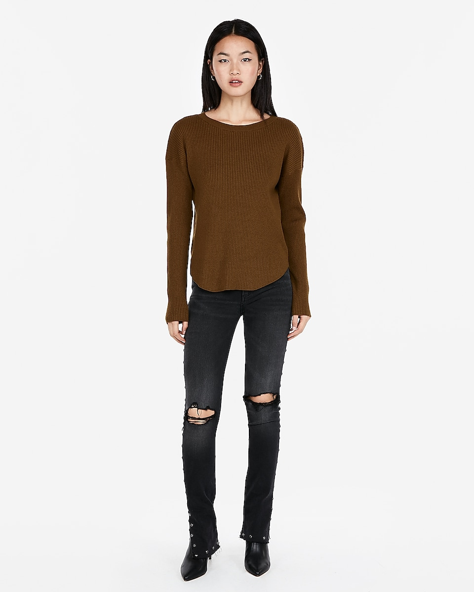 Express Ribbed Shirttail Hem Sweater