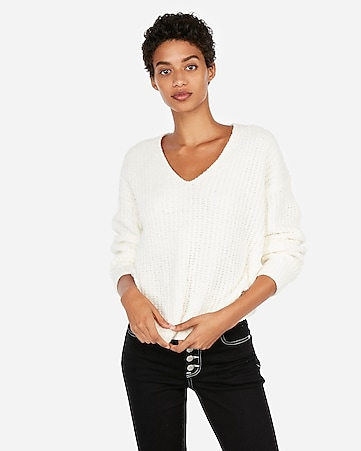 Express View · cozy chenille shaker knit v-neck sweater 7c98c55027