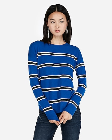 express view striped shirttail hem sweater