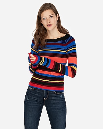 Express View Striped Bateau Neck Fitted Sweater