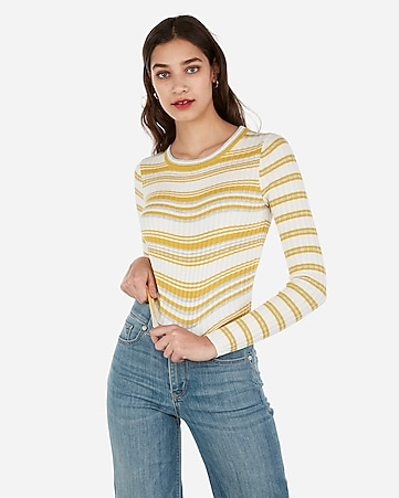 25784b966e Express View · striped pointelle abbreviated crew neck sweater