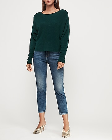 Cropped Dolman Sleeve Sweater by Express
