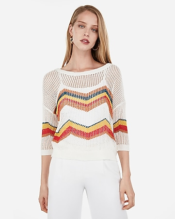 b4328eb42d Express View · chevron open stitch pullover sweater