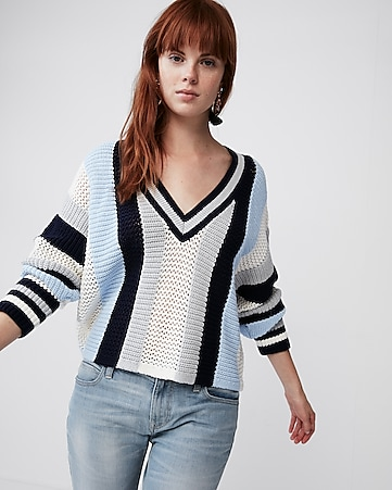 d6fe9b79508 express view · mix stitch striped v-neck sweater
