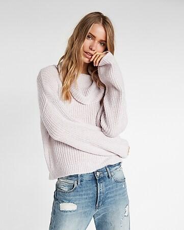 Metallic Cowl Neck Sweater | Express