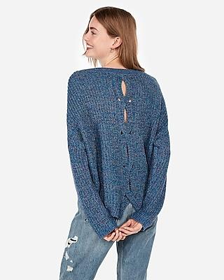 petite cable knit split back sweater