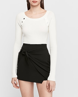 Express.com deals on Express Womens Ribbed Button Shoulder Sweater