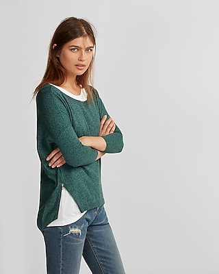 side zip hi-lo sweater