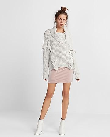 Women 's Clothing Knit Sweater Ruffle Khaki Women Sleeveless Dress OGVUP90