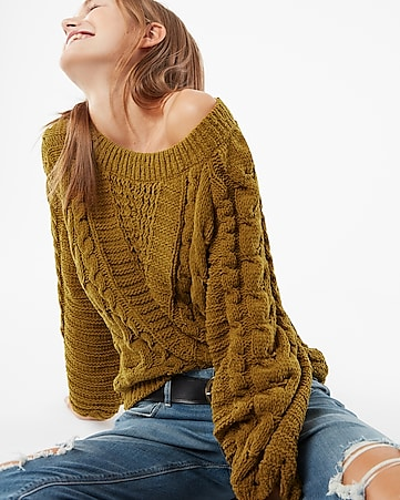 de03e9902f9 Cable Knit Chenille Boat Neck Balloon Sleeve Sweater