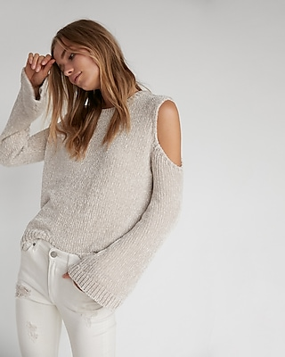 plush chenille cold shoulder sweater
