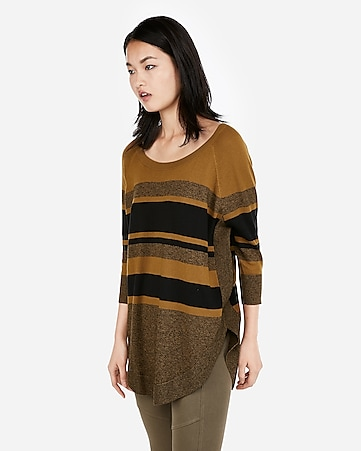 f50cf17b5294c8 Express View · stripe extreme circle hem sweater