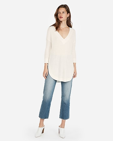 801a455091 Express View · v-neck circle hem tunic sweater