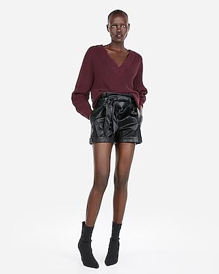 petite oversized shaker knit deep v-neck tunic sweater