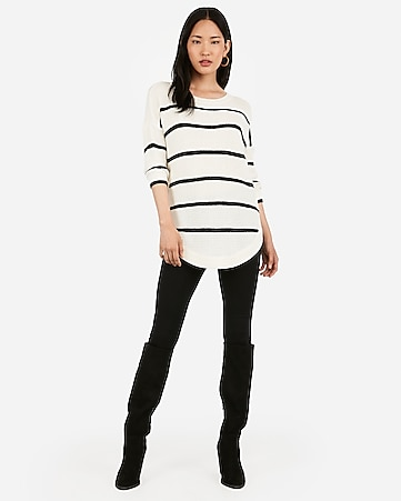 Striped Bateau Neck Circle Hem Sweater by Express
