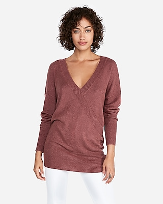 petite banded bottom wrap front tunic sweater