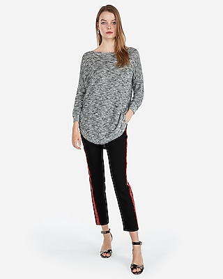 petite slub extreme circle hem tunic sweater