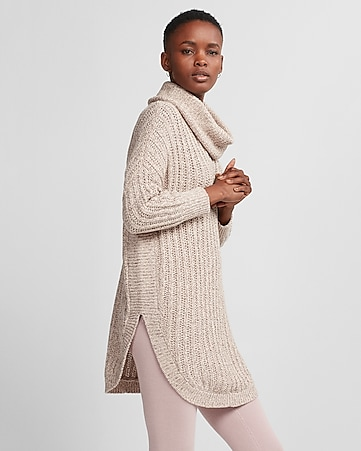 Petite Cowl Neck Extreme Circle Hem Sweater   Express
