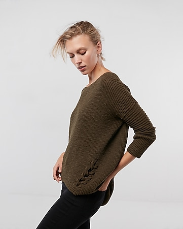 Extreme Circle Hem Cowl Neck Sweater   Express