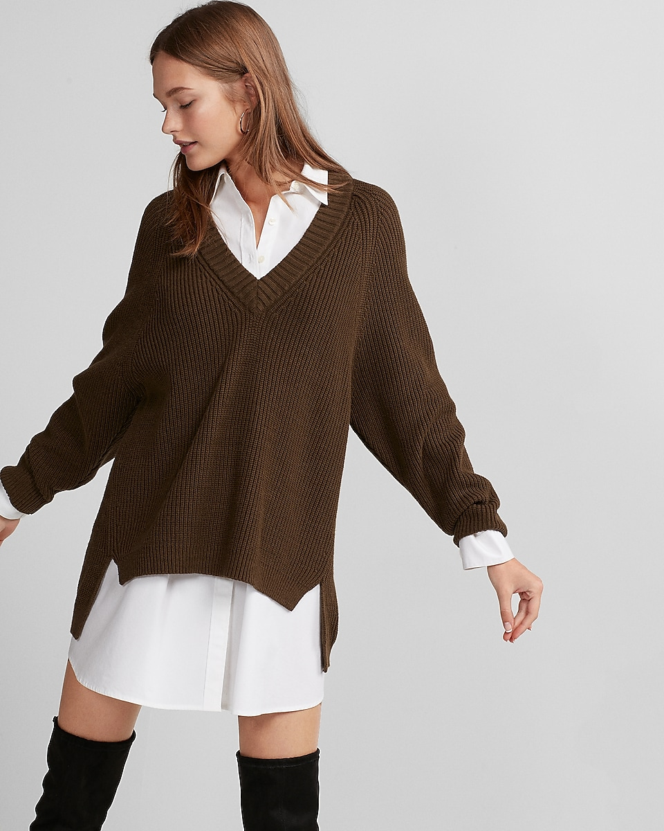 Image result for express deep v neck  sweater