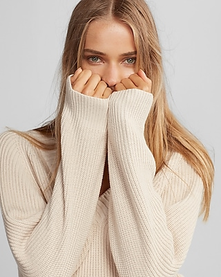 oversized deep v-neck tunic sweater