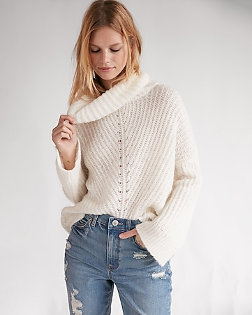 Brushed Lace-up Cable Knit Cowl Neck Sweater | Express