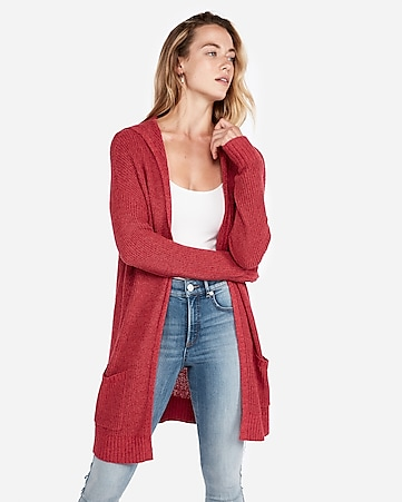 3e2768339938f8 Express View · hooded shaker knit cardigan