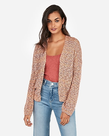 f40238e008 Express View · marled open stitch abbreviated cardigan