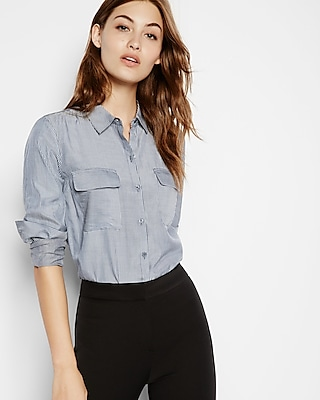 petite soft striped button down city shirt by express