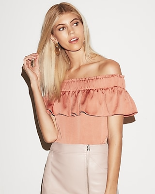 petite off the shoulder smocked ruffle top