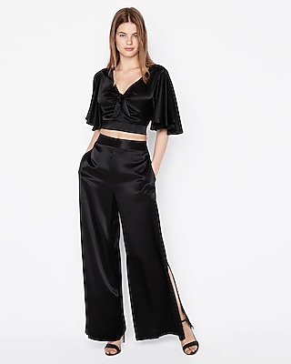 petite solid tie front cropped top