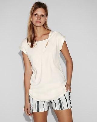Twist Neck Rolled Sleeve Blouse by Express