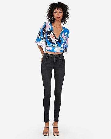 4c449adf3692ce Satin Tie Front Floral Print Cropped Long Sleeve Top