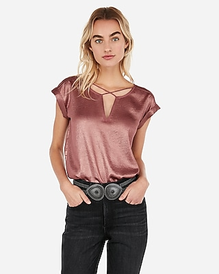 petite shimmery cross front gramercy tee