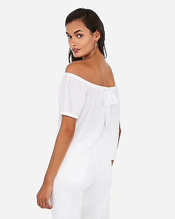 f4ca79b1399a8 Express View · off the shoulder back bow top