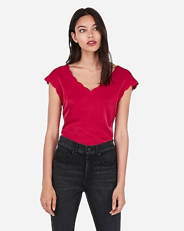 3a42fd96a Express View · satin scallop tee