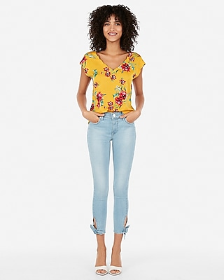 Floral Satin Scallop Tee by Express