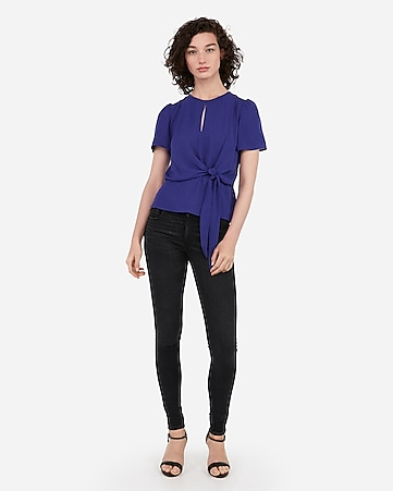 69f96089410f4 express view · tie front puff sleeve top