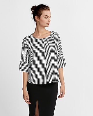 petite striped cocoon top