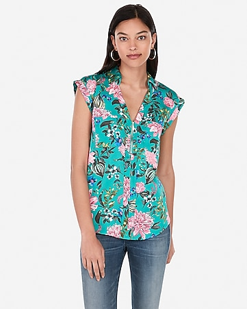 5011989c6b43 Express View · floral satin short sleeve zip front chelsea popover