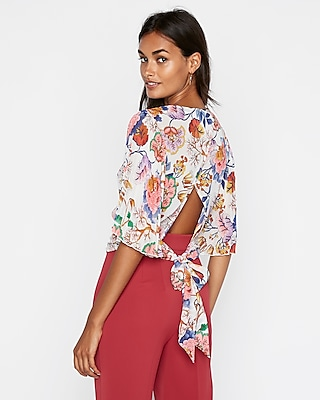 petite floral pleated kimono sleeve wrap blouse