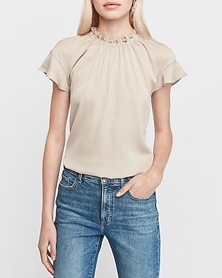 Express.com deals on Express Womens Jacquard Ruffle Mock Neck Top