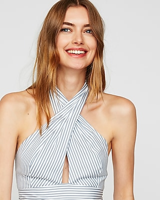 striped-cross-front-halter-neck-crop-top by express