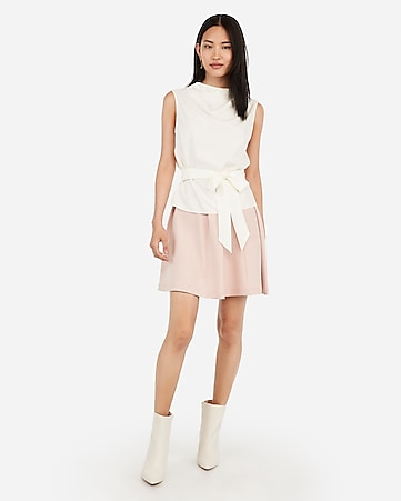 High Neck Sash Tie Top by Express
