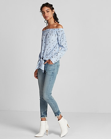 261e684ff6a Express View · striped bird off the shoulder tie front blouse