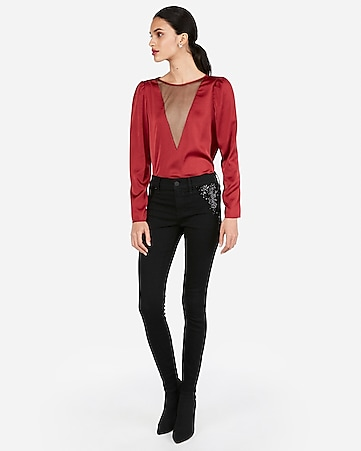 898586fe444 Express View · mesh front puff shoulder blouse