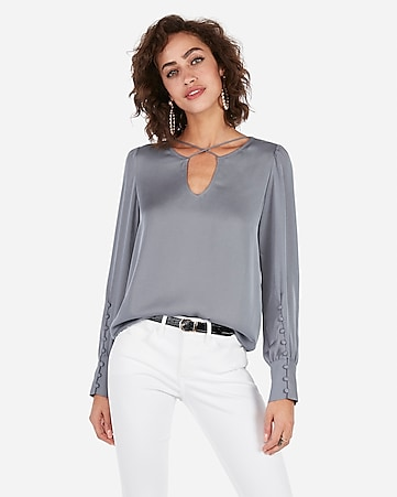 Express View · cross front large button-cuff blouse 801a18693