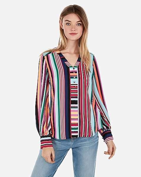 d5eaab4f02 Striped Button Front Blouson Sleeve Chelsea Popover