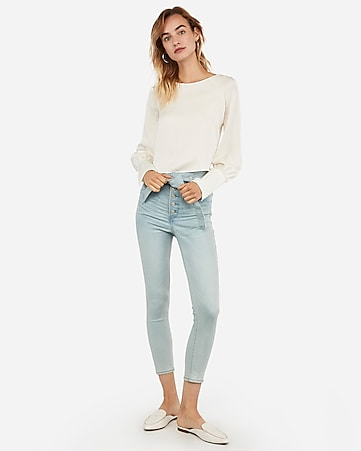 Cropped Puff Sleeve Top by Express